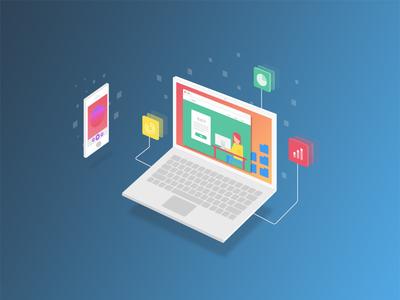 New Landing Page Graphics digital floating mobile laptop