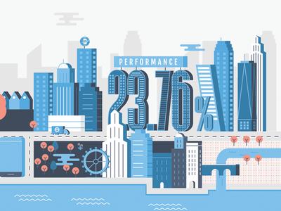 Goldsky Brand Illustrations city orange blue palette shapes simple style guide guidelines corporate illustration branding