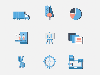 Goldsky Icons investment marketing branding orange blue perspective blend guidelines corporate illustration icons