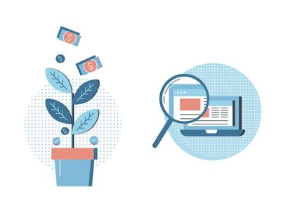 More assets for Goldsky marketing laptop flat illustration corporate branding icon money pot magnify zoom plant