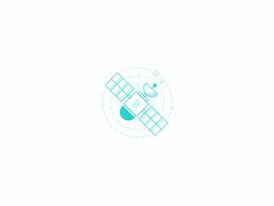 Satellite Illustration light minimal satellite space blue brand line icon branding