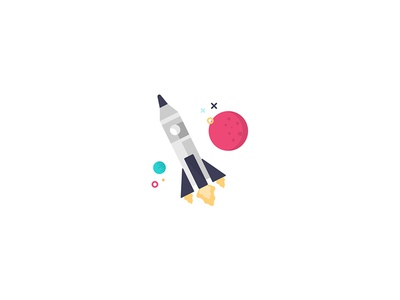 Rocket Illustration colour icon flat branding design space rocket illustration