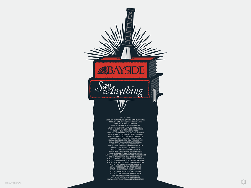 Bayside & Say Anything band poster band art poster design illustration digital illustration graphic design artwork