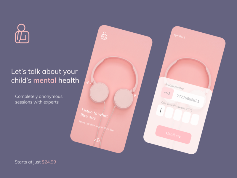 Sign up flow for mental health app minimal branding login signup mobile app ui mobile app ux design