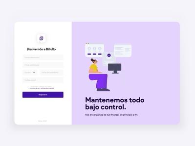 Billullo Sign Up design visualdesign app design uiux ux app uiuxdesign dailyui uiinspiration uidesign