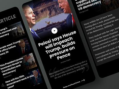 News App | Dark Theme mobile apps uidesign uiux article page design cards ui app design mobile app mobile ui 2021appdesign