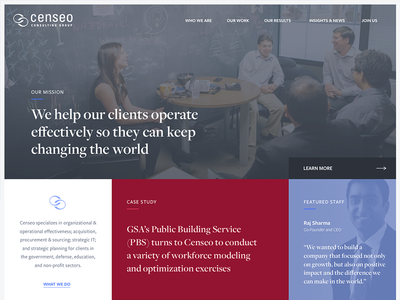 Censeo Consulting case study border layout web design desktop homepage ui consulting