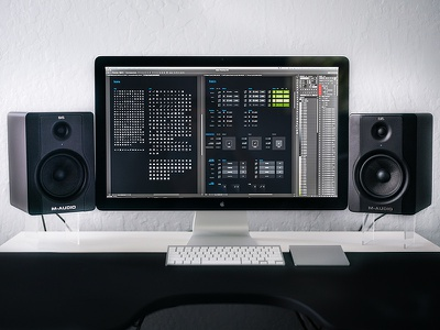 Workspace of a UI Designer desktop workspace table