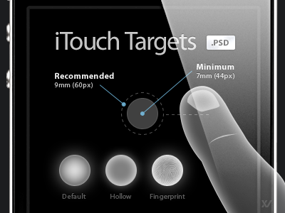 iTouch Targets - FREE PSD touch finger target iphone psd free mobile freebie
