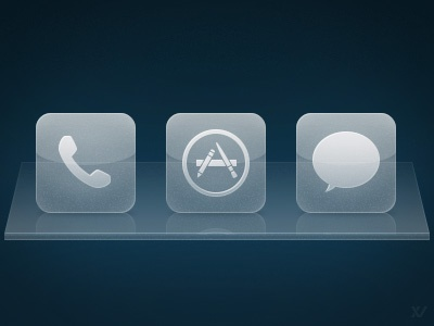 iOS Glass Dock Icons ios iphone icons iconset glass dock simple