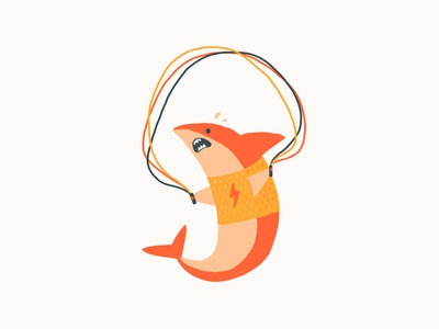 Shark animal character funny gym procreate jumprope exercise illustration cute shark