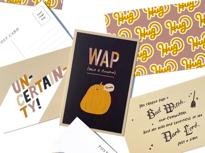 Fall Postcards fall colors trendy fall cute funny handlettering typography illustration postcard witch pumpkin halloween
