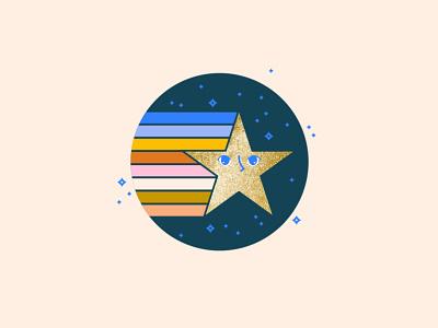 Star logo rainbow star illustration cute vector grpahic 80s