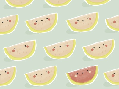 More Melons pink graphic design vector illustration kawaii cute food fruit pattern