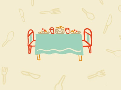 Dinner icon lifework pattern table cute sketch doodle illustration food silverware dinner