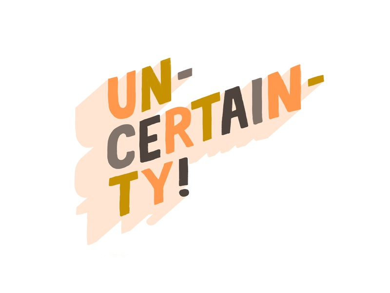 Uncertainty 3d all caps handlettering graphic design color illustration typography lettering