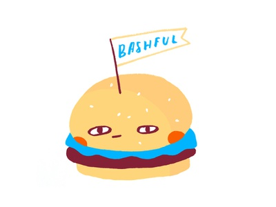 Bashful Burger graphic design cute brush typography vector graphic food burger