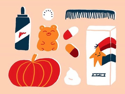 Hairloss foam comb pumpkin hairloss graphic illustration cute bear icons