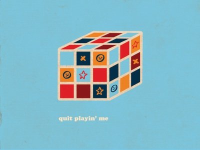 quit playin' me texture 3d bright icon vector illustration design graphic rubiks cube