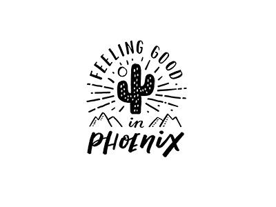Phoenix Logo graphic design mountain identity handlettering typography illustration logo cactus phoenix