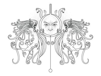 Fantastic illustration for tattoo