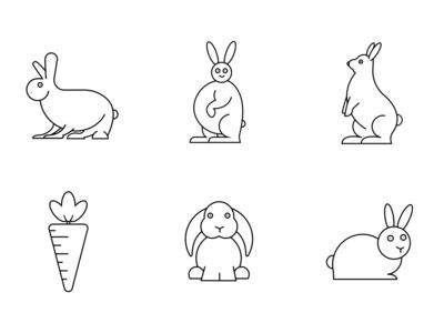 Icon drawings of rabbits