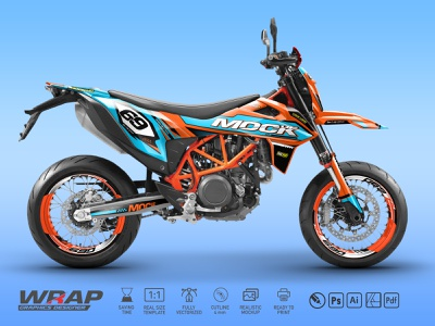 KTM 690 SMCR 2019 design graphics print decals wrap mockup smcr smc ktm