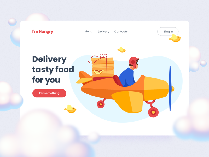 I'm Hungry. Food Delivery Illustrations I maize airplane sky bird plane food delivery pizza landingpage vector design 2d art ui8 ui illustration