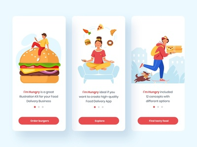I'm Hungry. Food Delivery Illustrations III donut pizza burger vector ui design food delivery illustration