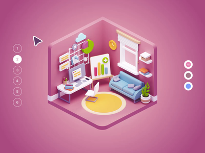 Cubbies: 3D Workspace Illustrations interior homeoffice workspace room isometric ui8 ui illustration 3d blender sketch figma