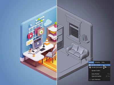 Cubbies: 3D Workspace Illustrations II ui room interior isometric workspace homeoffice illustration blender ui8 sketch figma