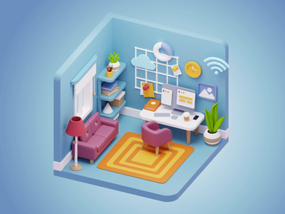 Cubbies: 3D Workspace Illustrations III ui sketch figma illustration 3dart 3d blender workspace office home room isometric ui8net ui8