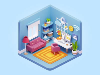 Cubbies: 3D Workspace Illustrations III ui sketch figma illustration 3dart 3d blender workspace office home room isometric ui8net ui8