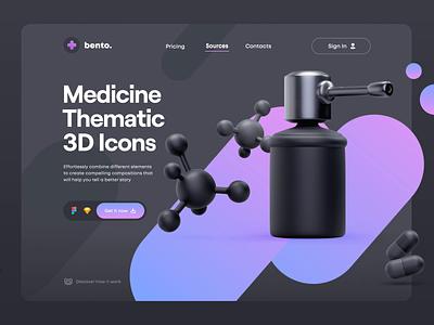 Bento Matte 3D: Medicine pack icon c4d 3d virus health medicine bento ui ui8 sketch figma