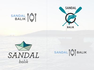 Sandal Balik Logo chips restaurant food fishing row rowing boat fish balik sandal logo