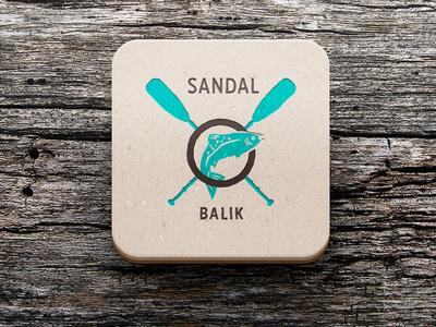 Sandal Balik Logo mockup sandal rowing row restaurant logo food fishing fish chips boat balik