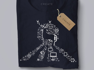Weekly Challenge 20 - Tshirt Design for Team Create silhuette icon deer t-shirt mockup tshirt team