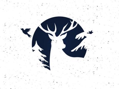 Deer v1 night style snow circle bird pine nature deer