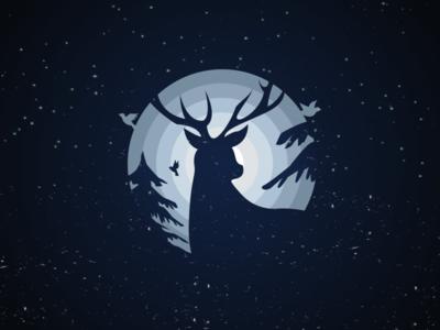 Deer v2 illustration vector style snow pine night nature deer circle bird