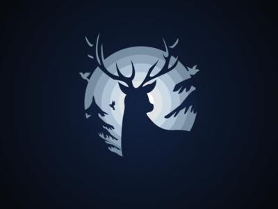 Deer v3 illustration vector style snow pine night nature deer circle bird