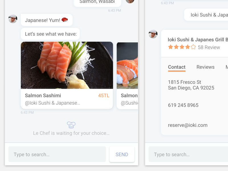 Le Chef Chat Bot le chef chef sushi ux ui conversational ux conversational ui conversation chatbot bot chat