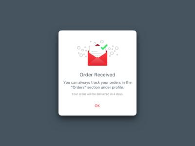 Success popup component deliver received order ux ui popup success
