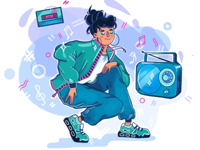 80's girl inspiration illustration party dance style 80s retro music