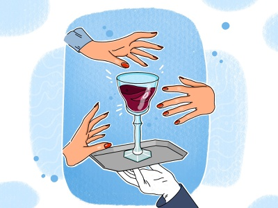 Don't touch my wine🍷 service restaurant wine glass wine hand drawn inspiration illustration