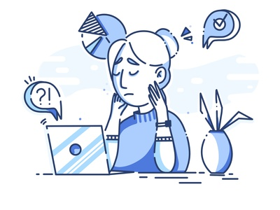 Problematic flat design minimal cartoon character illustrations procreate thinking busy laptop client work work girl problem solving business icon monochrome illustration