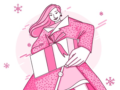 Present for you surprise present gift christmas new year holidays winter pink illustration inspiration flat cartoon character girl