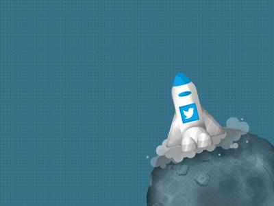 Tweet Rocket on the planet tweeter tweet rocket pank pank.in icon smoke design pankaj pankdesigns planet
