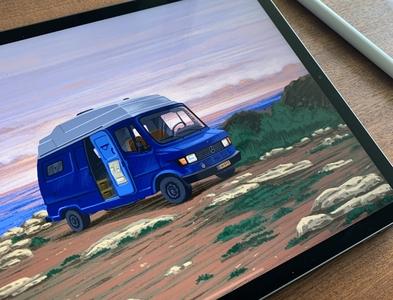 Camper Van - 2 🚐 nature illustration illustration art illustrator illustration campervan nature procreate procreate art procreate app ipadpro ipadproart design travel traveling sea