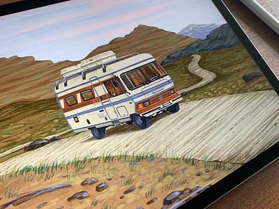 Camper Van - 3 🚐 illustration illustrator illustration art illustrations campervan nature procreate procreate art procreate app ipadpro ipadproart travel agency design travel travelling mountains traveling