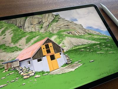 Appenzell 🐄  ⛰️  Switzerland pankaj juvekar nature art nature ranch hiking hiker hike traveling appenzell switzerland ipadproart ipad pro ipadpro procreateapp procreate app procreate illustrations illustration art illustration illustrator
